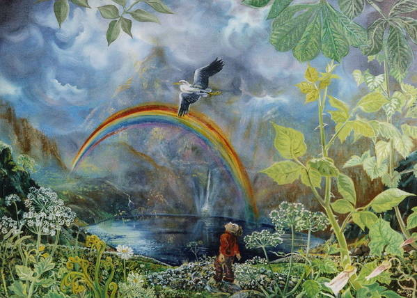 Landscape Brambles Heron Rainbow Sky Mountains Poster featuring the painting A Day In The Hills by Peter Rodulfo