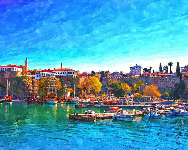 Painting Poster featuring the painting A Digitally Constructed Painting Of Kaleici Harbour In Antalya Turkey by Ken Biggs