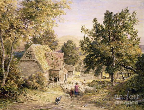 Farmyard Poster featuring the painting A Farmyard Near Princes Risborough by Samuel Palmer