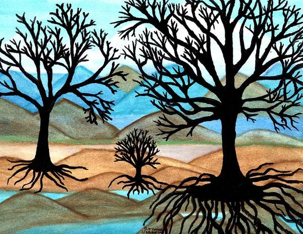 Black Trees Poster featuring the painting A Good Foundation by Connie Valasco