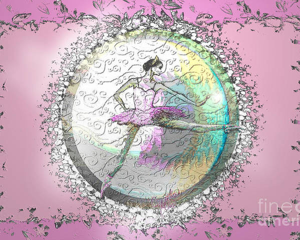 Ballet Poster featuring the digital art A La Second Pink Variation by Cynthia Sorensen