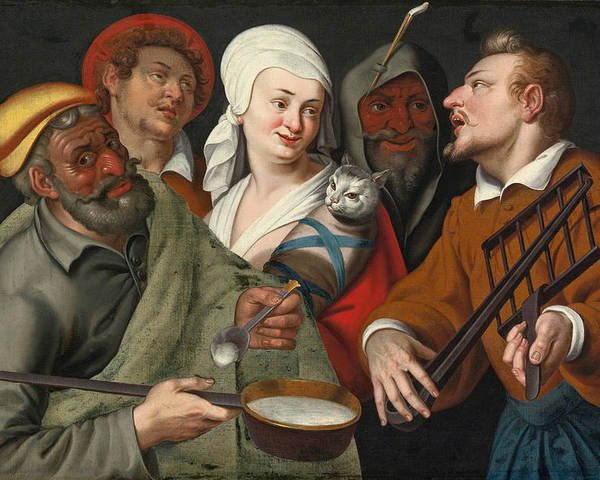 A Lady Holding A Swaddled Cat A Man With A Pan Of Porridge Another Playing With Fire Irons And Two O Poster