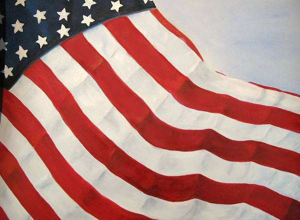 Flag Poster featuring the painting A Little Glory by Carol Sweetwood