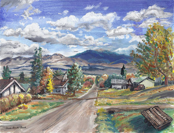 Landscape Poster featuring the painting A Look Down The Street by Dawn Senior-Trask