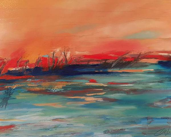 Abstract Landscape Poster featuring the painting A Love Like This Can't Last Forever by Shannon Workman