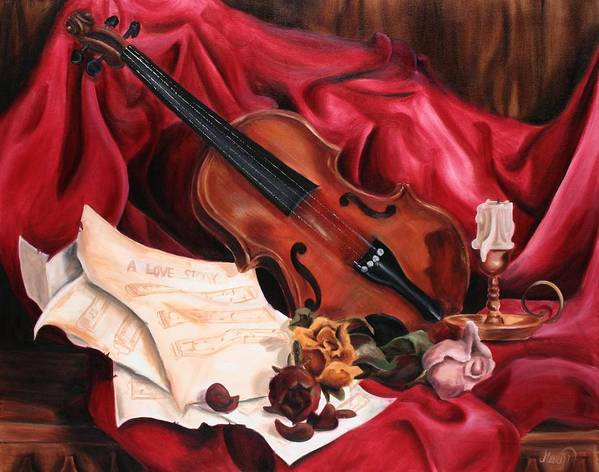 Violin Poster featuring the painting A Love Story by Maryn Crawford