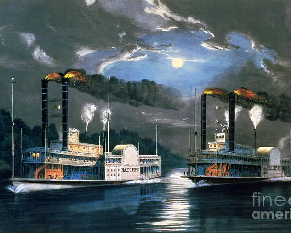 A Midnight Race On The Mississippi Poster featuring the painting A Midnight Race On The Mississippi by Currier and Ives