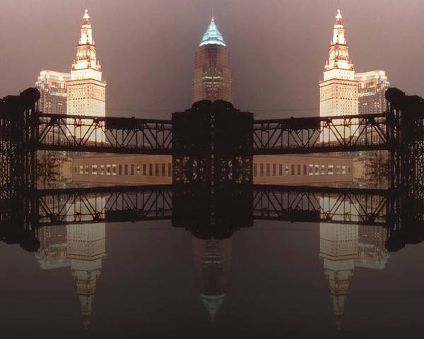 Cleveland Poster featuring the photograph A Mirror Image Reflection by Kenneth Krolikowski