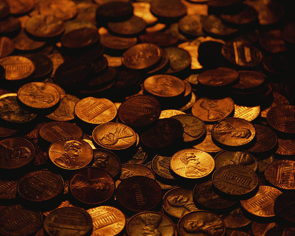 Money Poster featuring the photograph A Mound Of Pennies by Joel Sartore