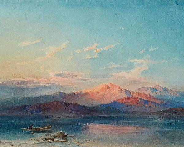 Leopold Rottmann Poster featuring the painting A Mountain Lake At Sunset by Leopold Rottmann