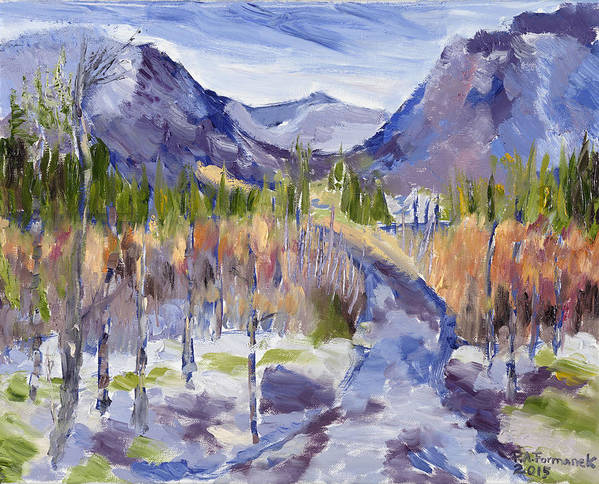 Rocky Mountains Poster featuring the painting A Mountain Road by Paula Formanek