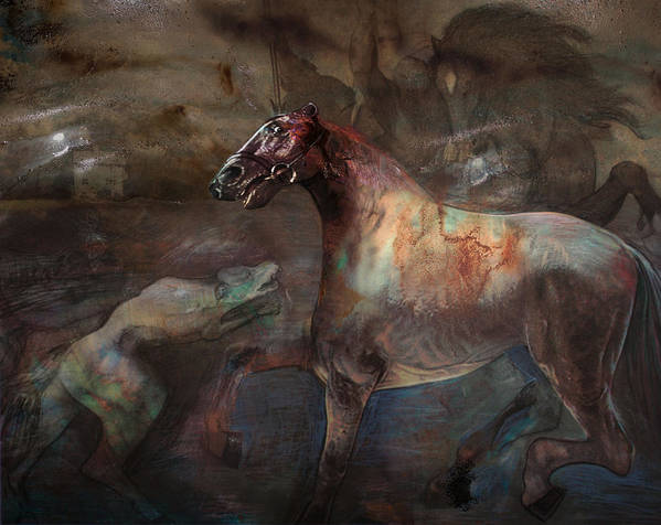 Horse Poster featuring the digital art A Nightmare by Henriette Tuer lund