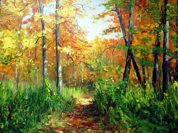 North Woods Poster featuring the painting A Path Less Traveled by Michael Pintar