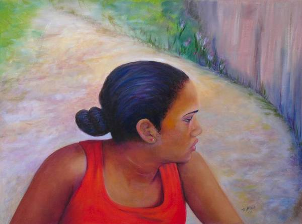 Portrait Poster featuring the painting A Penny for Your Thoughts by Merle Blair