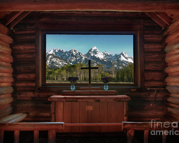 Hdr Poster featuring the photograph A Pew With A View by Sandra Bronstein