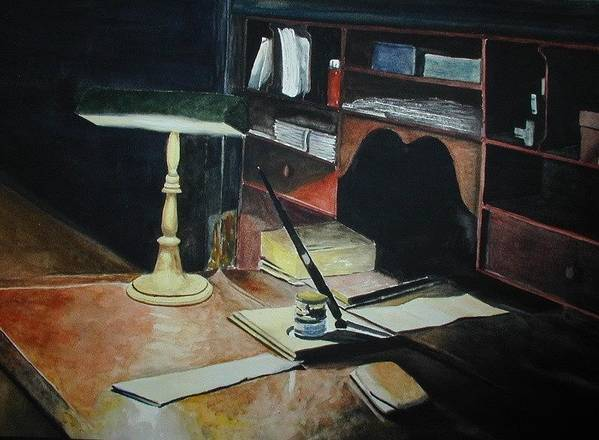 Desk Poster featuring the painting A Place To Compose by Dwight Williams