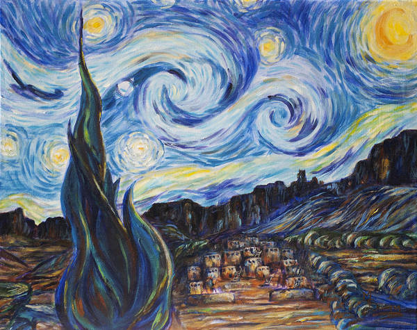 Vincent Van Gogh Poster featuring the painting A Pueblo Starry Night by M Schaefer