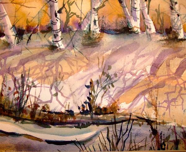 Snow Poster featuring the painting A Quiet Light by Mindy Newman