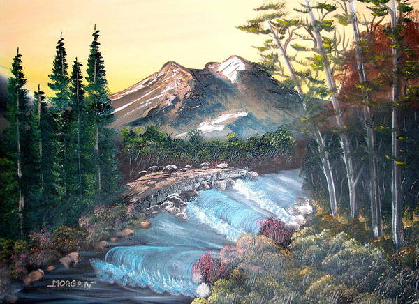 Landscape Poster featuring the painting A River Runs Through It by Sheldon Morgan