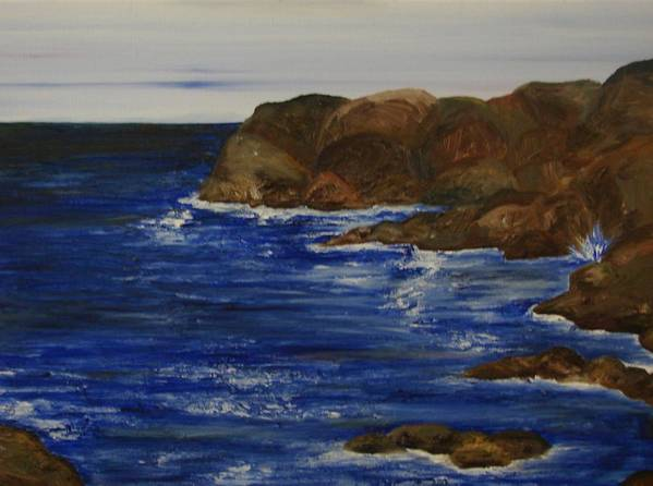 Seascape Poster featuring the painting A Rocky Coast by Shiana Canatella