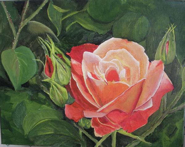 Floral Poster featuring the painting A Rose by Betty-Anne McDonald