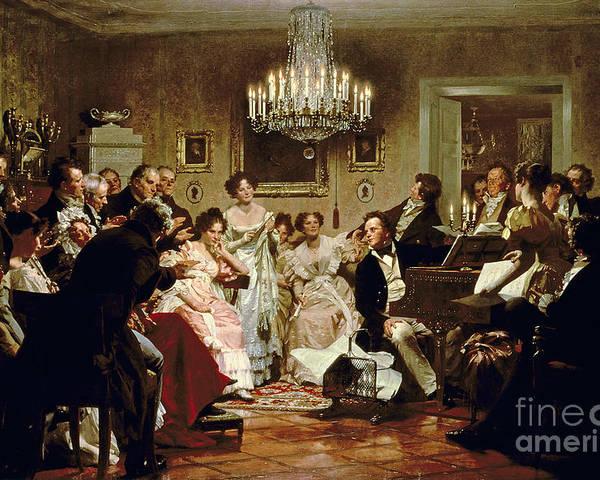 A Schubert Evening In A Vienna Salon By Julius Schmid (1854-1935) Poster featuring the painting A Schubert Evening In A Vienna Salon by Julius Schmid