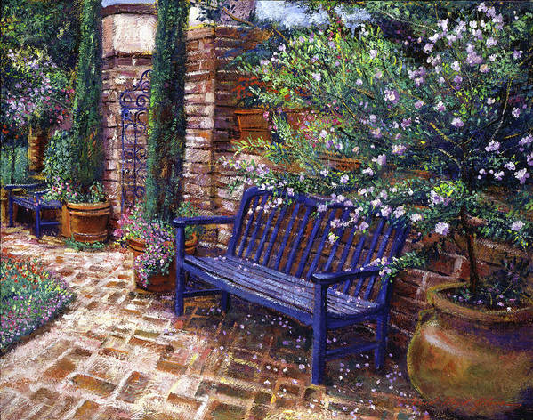 Gardens Poster featuring the painting A Shady Resting Place by David Lloyd Glover