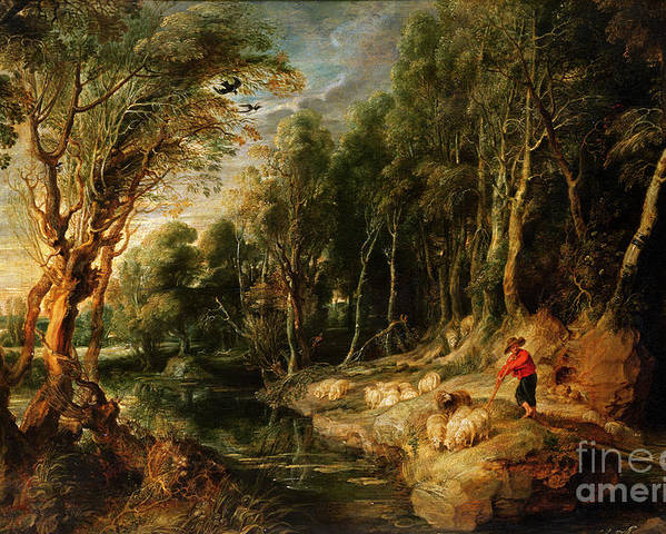 Shepherd Poster featuring the painting A Shepherd With His Flock In A Woody Landscape by Rubens