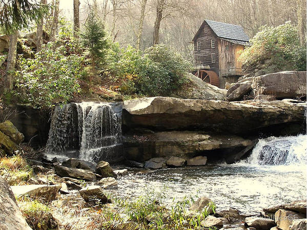 Grist Mill Also Known As A Feed Mill Poster featuring the photograph A Simple Place And Time by Wallace Marshall