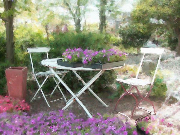 Country Rural Flower Summer Tea Painting Teatime Garden Shade Friends Sargent Oil Table Poster featuring the painting A Spot For Tea by Eddie Durrett