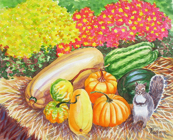Watercolor Poster featuring the painting A Squirrel And Pumpkins.2007 by Natalia Piacheva