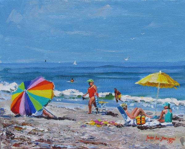 Beach Scene Poster featuring the painting A Summer by Laura Lee Zanghetti