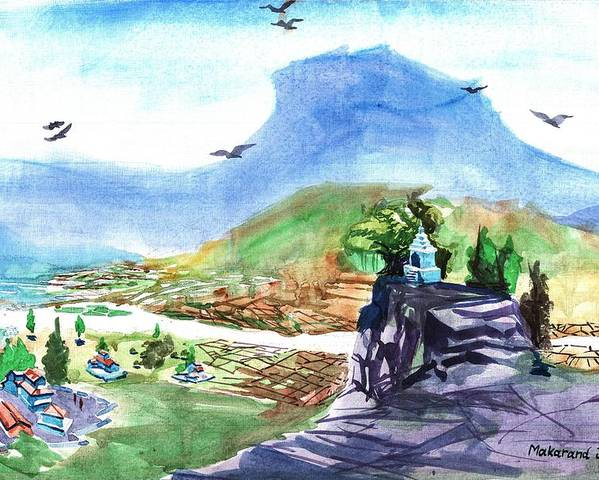 Makarand Joshi Poster featuring the painting A Temple With A Mountain And Fields In The Background by Makarand Joshi