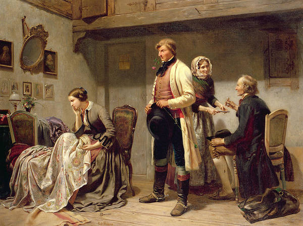 Toast Poster featuring the painting A Toast To The Engaged Couple by Carl Wilhelm Huebner