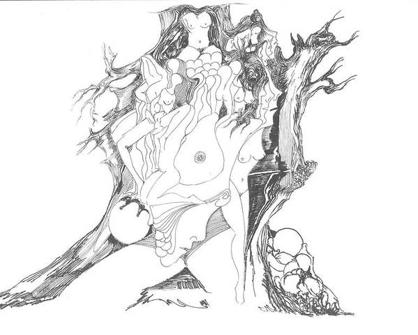 Surreal Poster featuring the drawing A Tree Human Forms And Some Rocks by Padamvir Singh