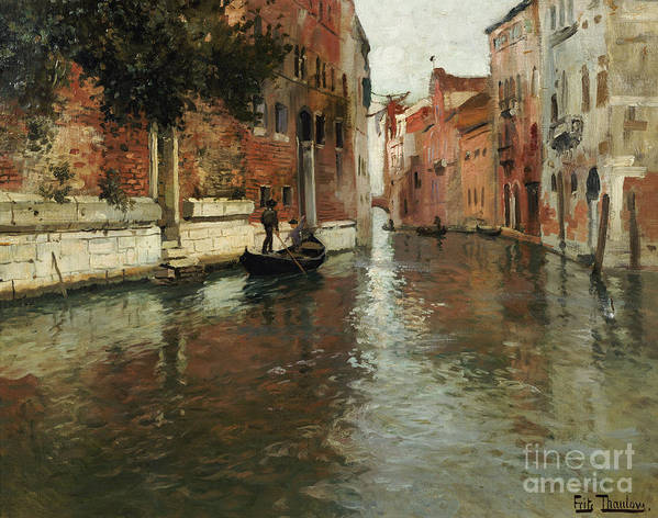 Venice Poster featuring the painting A Venetian Backwater by Fritz Thaulow