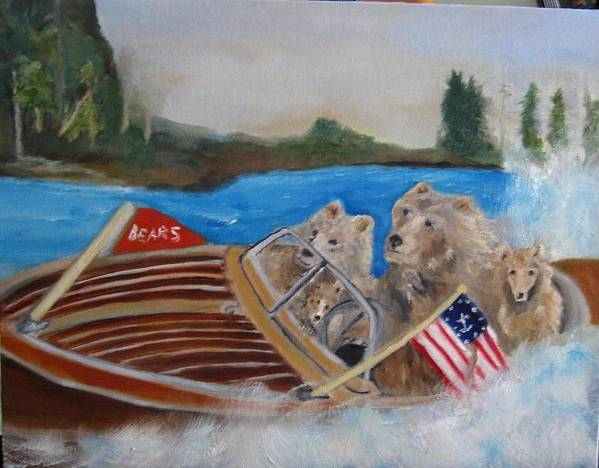 Lake Poster featuring the painting A Very Beary Fun Lake Day by Colleen DalCanton