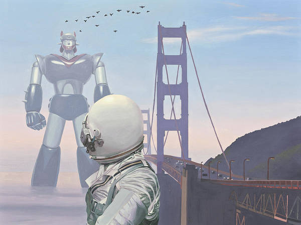 Astronaut Poster featuring the painting A Very Large Robot by Scott Listfield