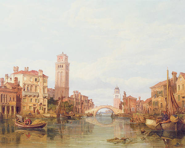 Veneto; Italy; River; Canal; Vessel; Townscape; Bridge; Tower; City Poster featuring the painting A View Of Verona by George Clarkson Stanfield