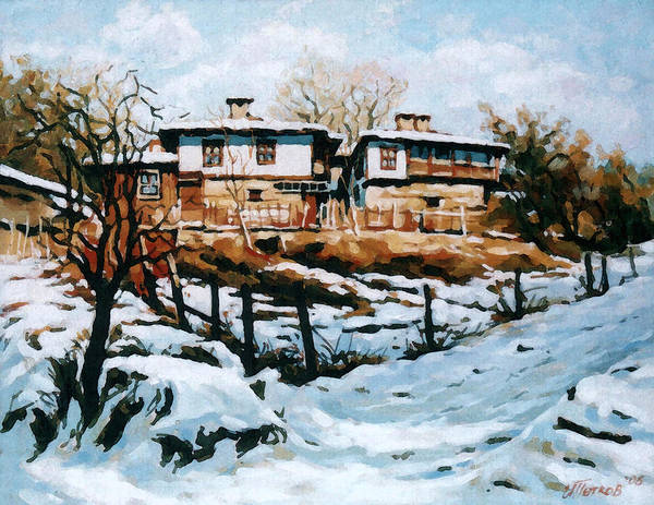 Landscape Poster featuring the painting A Village In Winter by Iliyan Bozhanov