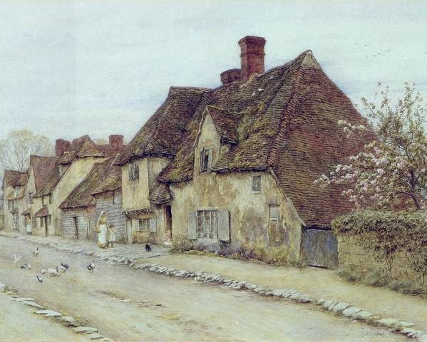 Cottage; Mother And Child; Rural Scene; Country; Countryside; Home; Path; Chicken; Picturesque; Idyllic; Daughter; Street; Row Of Houses; Female Poster featuring the painting A Village Street Kent by Helen Allingham