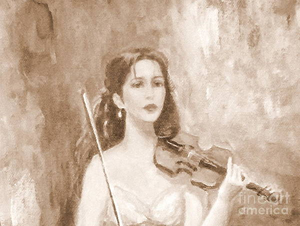 Figurative Poster featuring the painting A Violin Girl by Taya Winitsky