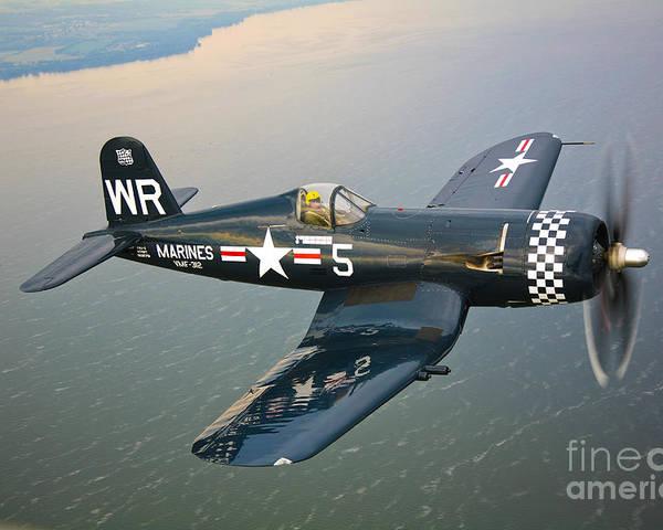 Transportation Poster featuring the photograph A Vought F4u-5 Corsair In Flight by Scott Germain