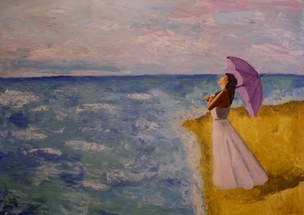 Seascape Poster featuring the painting A Walk Along The Beach by Mats Eriksson