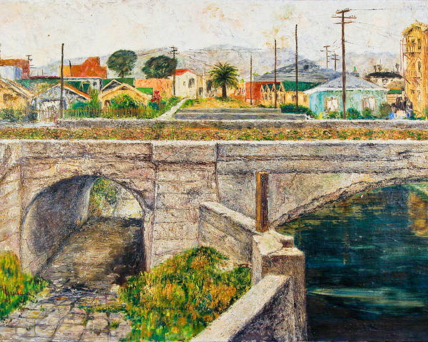 City Poster featuring the painting A Walk Along The Canal By Victor Herman by Joni Herman