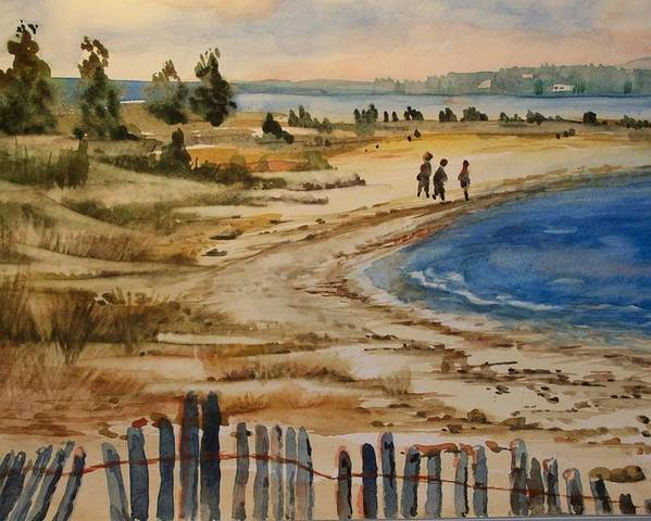 Beach Poster featuring the painting A Walk By The Seashore by Siona Koubek