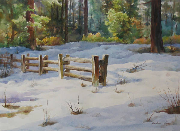 Landscape Poster featuring the painting A Winter Morning by Kelvin Lei