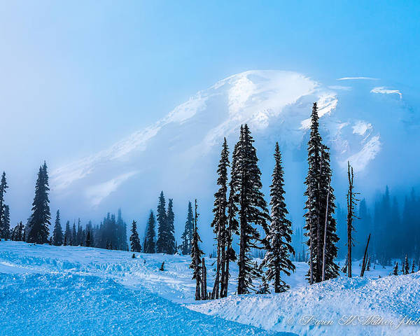 Mt Rainier Poster featuring the photograph A Wintry Day On Mt Rainier by Karen Mae Walker