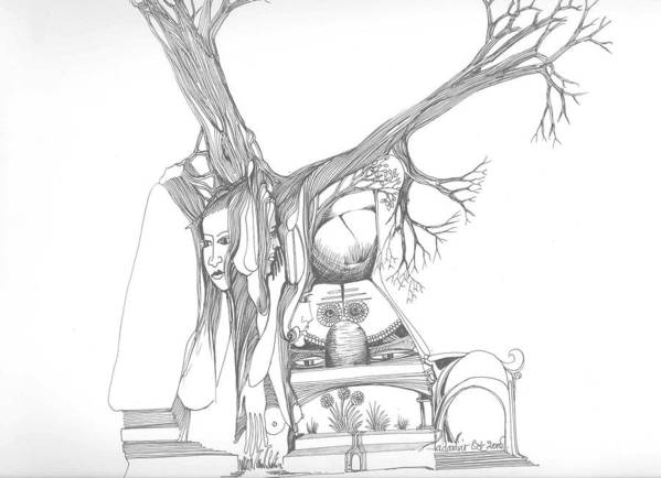 Women Poster featuring the drawing A Woman A Temple A Tree And Some Rocks by Padamvir Singh
