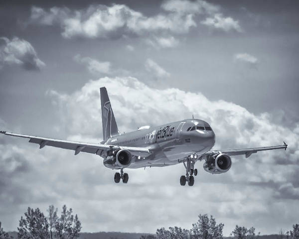 Air Travel Poster featuring the photograph A320 On Approach by Guy Whiteley